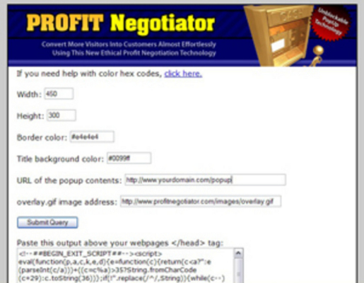 Product picture Lead Capture Tool - Exit Pop Up - ProfitNegotiator
